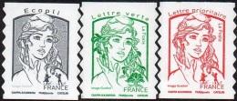 France Marianne De Ciappa Et Kawena N° 1214 - 1214 A - 1215 A ** Autoadhésif -  Sans Les Poids (Verso Blanc-Pro) - 2013-... Marianne (Ciappa-Kawena)