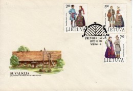 1992 - Lituanie - Env. 1er Jour - Costumes Nationaux (Michel N°508 - 509 - 510) - Lituania