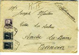 Lettre Recommandée De BARCELONA 1937  Avec  Vignettes Au Dos Amelie Les Bains     REF381 - 1931-Hoy: 2ª República - ... Juan Carlos I