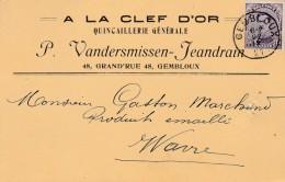 Gembloux,carte Publicité , P.Vandersmissen ,quincaillerie Générale ,A La Clef D'Or - Gembloux