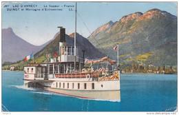Carte Postale Ancienne - Lac D'Annecy - Le Vapeur France - Duingt Et Montagne D'Entrevernes - Annecy