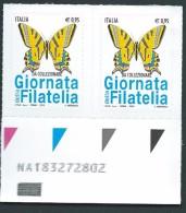 Italia 2016; Giornata Della Filatelia Con Farfalla Macaone. Coppia Con Codice Alfanumerico. - 6. 1946-.. Repubblica