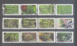 France Autoadhésifs Oblitérés N°739 à 750 (Série Complète : Légumes) (cachet Rond) - France