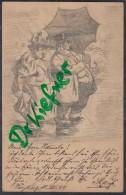Handgemalte Postkarte Von H. Stauß, älteres Paar Mit Regenschirm, 1899,gestempelt: Würzburg 11.JUN 1899 - Illustrateurs & Photographes