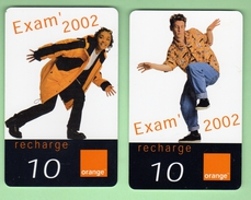 ORANGE REUNION *** EXAM' 2002 *** Lot De 2 Recharges Differentes *** (A105-P10) - France