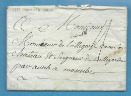 Lot Et Garonne - Agen Pour Le Seigneur De Bellegarde Par Auch à Masseube (Gers). MP Lenain N°4. LAC De 1782 - 1701-1800: Précurseurs XVIII