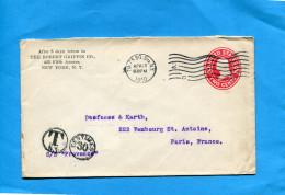 Marcophilie-lettre USA  Entier Postal 2 Cents Rouge  >Françe Cad 1910 Vague 2 C N Y-TAXEE 30 Ct PourPARIS