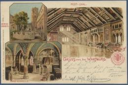 Eisenach Gruss Von Der Wartburg Festsaal Burg-Kapelle, Gelaufen 1901 (AK972) - Eisenach