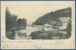 Gruss Aus Hann.-Münden Blumenmühle, Gelaufen 1901 (AK977) - Hannoversch Münden