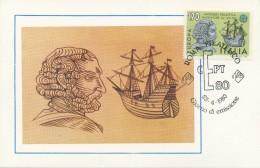 ITALIA - FDC MAXIMUM CARD 1980 -  EUROPA - ANTONIO PIGAFETTA - NAVIGATORE - Maximum Cards