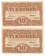 Denmark 10 Kroner 1943 AUNC (Price For 1 Banknote) Restored - Danimarca