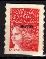 """Mayotte N° 61 A XX Marianne De Luquet Surchargée """"Mayotte"""" : Sans Val. Rouge Sans Charnière TB"""