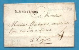 Haute Marne - Langres Pour Dijon (Cote D´or). LAC De 1759 écrite à LAFFERTE (la Ferté Sur Amance) - 1701-1800: Précurseurs XVIII