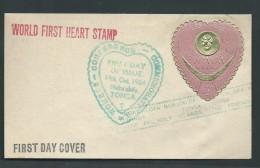 Tonga 1964 3d Heart Shaped Self Adhesive On FDC - Tonga (1970-...)