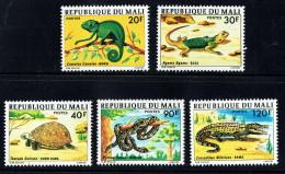 1976  Caméléon, Lézard. Tortue, Python, Crocrodile   Série Complète ** - Mali (1959-...)
