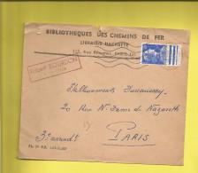 Enveloppe Ou Lettre Publicitaire Commerciale De PARIS BIBLIOTHÉQUES DES CHEMINS DE FER Le 08 04 1958 - Marcophilie (Lettres)