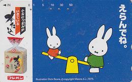 Télécarte Japon / 110-016 - BD COMICS - LAPIN / Balançoire - DICK BRUNA - MIFFY - RABBIT Japan Phonecard - KANINCHEN  49 - Comics