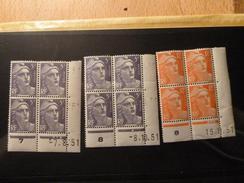 Lot De 3 Coins Datés 1951-  Marianne De Gandon Neuf ** - 1950-1959