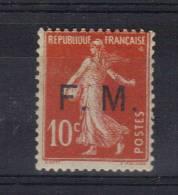 FM N°5 Semeuse 10ct  Rouge Neuf * Petite Charnière - Franchigia Militare (francobolli)