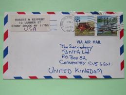 USA 1990 Cover Long Island To England - Universal Postal Congress - Ship - Horse Coach - Etats-Unis