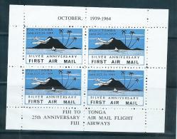 Tonga 1964 Fiji Tonga Flight Anniversary Private Issue Label Block Of 4 Fresh MNH - Tonga (1970-...)