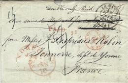 """1842- Lettre De NORFOLK ( Virginie ) Pour Le Havre + """"double Only, Paid"""" + PAID + OUTREMER/Le HAVRE - Etats-Unis"""