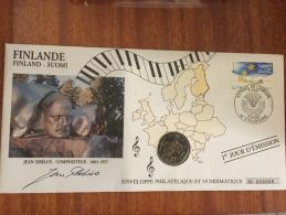 Finlande Pièce De 2€ De 2004 Sur Enveloppe Philatélique Conseil De L Europe J .SIBELUS En Superbe état - Finlande