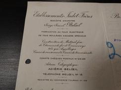 Entête Lettre . Etablissements Jadot-Frères à Beloeil - Construction De Matériel De Chemin De Fer Et Tramways.-1935- - Publicidad