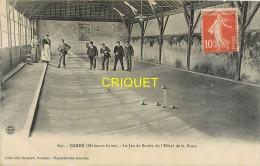 49 Candé, Le Jeu De Boules De L'Hotel De La Poste, Animée Avec Joueurs, Belle Carte Pas Courante Affranchie 1910 - Autres Communes
