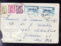 COB PA 8 ( Deux Fois) Et 3 Timbres PETIT SCEAU DE L'ETAT Sur Lettre De LA LOUVIERE - JAMAICA (USA). (6AL393) - Poste Aérienne