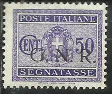 ITALIA REGNO ITALY KINGDOM 1944 SEGNATASSE POSTAGE DUETASSE TAXE RSI GNR CENT. 50 MNH BEN CENTRATO - Strafport