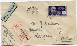 A. E. F. FRANCE LIBRE  LETTRE RECOMMANDEE PAR AVION DEPART LAMBARENE 21 FEVR 43 CONGO FRANCAIS POUR LE TCHAD - Brieven En Documenten