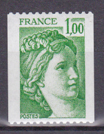N° 1981A Type Sabine Provenace De Roulette 2 Bandes De Phosphore Non Dentelés :Un Timbre Neuf Sans Charnière - France