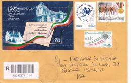 STORIA POSTALE.REPUBBLICA.ITALIA.BUSTA.AFFRANCATURA MISTA.FOGLIETTO.G8.MONTELUPO.5552