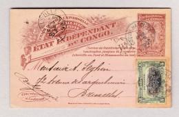 Belgisch Kongo - COQUILHATVILLE 12.5.1902 Ganzsache 10c + 5c Zusatz Nach Belgien