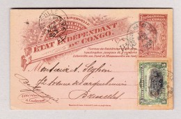 Belgisch Kongo - COQUILHATVILLE 12.5.1902 Ganzsache 10c + 5c Zusatz Nach Belgien - Congo Belge