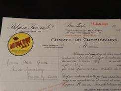 Entête Lettre : Belgian-Benzine-MOTOGAZOLINEà Bruxelles.-1928- - Advertising