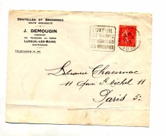 Lettre Flamme Daguib Luxeuil Therme Broderie Entete Dentelle Demougin - Mechanical Postmarks (Advertisement)