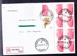 COB 2450 (9 Fois) Et 2449 (BUZIN) Sur Lettre Recommandée De EBEN EMAEL à TONGEREN. (6AL447) - Belgique