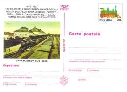 Romania  Bildpostkarte  Gara / Bahnhof  Ploiesti Sud 1905 - Treinen