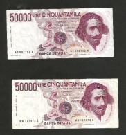 ITALIA - BANCA D´ ITALIA - 50000 Lire BERNINI I° Tipo (Firme: Ciampi / Stevani & Ciampi / Speziali ) LOTTO - [ 2] 1946-… : Repubblica