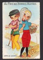 A 2242 -  Carte Brodée      Au Pays Ds Bonnes Huîtres    Couple - Brodées