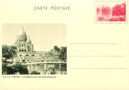 CARTE POSTALE ENTIER   PARIS  BASILIQUE DE MONTMARTRE   G L ARLAUD - Postwaardestukken