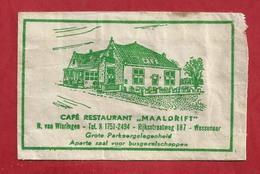 Suikerzakje - WASSENAAR. CAFÉ RESTAURANT - MAALDRIFT - N. Van Wieringen.Rijksstraatweg 187 - W.v. OORDT &CO. 2 SCANS - Zucchero (bustine)