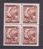 1945 , Mi 749 **(10) -  4er Block Postfrisch - Freimarke : Landschaften , Gesäuseeingang (Steiermark) - 1945-60 Ongebruikt