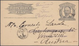 1904-EP-64 CUBA 1904. Ed.70. REPUBLICA. TARJETA ENTERO POSTAL POSTAL STATIONERY. 1c. 1926. HABANA A AUSTRIA. POSTAGE DUE - Cuba