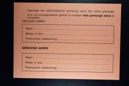 Belgium: Postcard  Regie Der Posterijen  Ingevolge Adm. Beslissing Verhuiskaart - Cartoline [1909-34]
