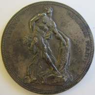 """AG05018 Milon De Crotonne Par Puget Représenté Par Lagrange (1873) """"et Ament Meminisse Perit"""" Argent, 176 G. - France"""