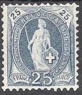 14 Vertikalzähne KZ II 1901: Zu 73E Mi 67D Yv ?? - 25c Blau * Mit Falz MH  (Zu CHF 20.00 Für *) - 1882-1906 Wappen, Stehende Helvetia & UPU