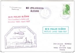 POLARBJORN. 23 OCTOBRE 1986. . TROISIEME EXPEDITION EN TERRE ADELIE - Covers & Documents